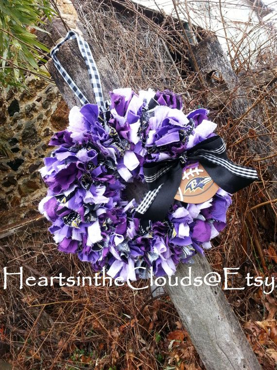 Ravens Baltimore Football Fabric/Rag Wreath Sports Team Wreath Customizable Team Wreath Made To Order Steelers Redskins Cowboys Eagles
