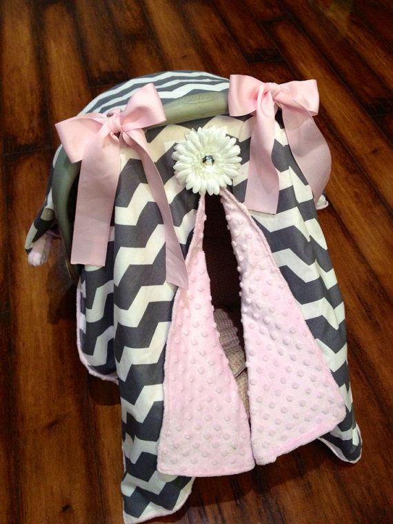 Grey chevron and pink minky Car seat canopy on Etsy, $45.00