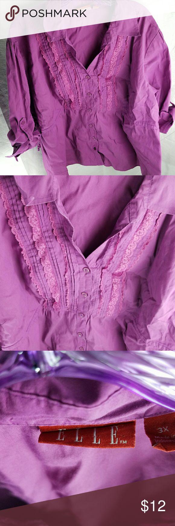Elle 3X Purple Blouse Elle 3XL Purple 3/4 Sleeve Blouse ties in back length is 26.75 bust is 47in armpit to armpit is 25in from shoulder to end of sleeve is 12in Elle Tops Blouses