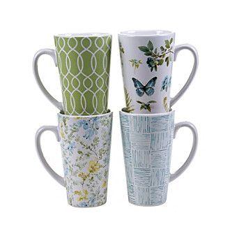 Certified International by Lisa Audit The Greenhouse Set of 4 Latte Mugs