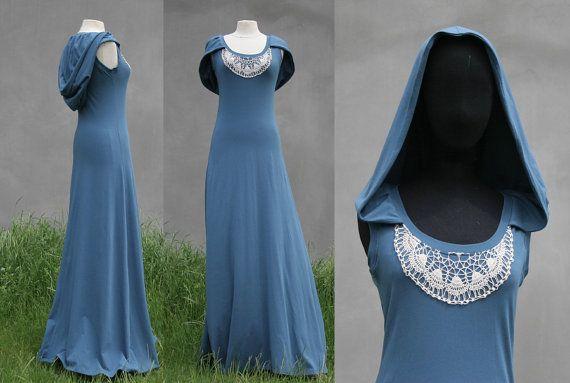 Blue hooded maxi dress, size Small, extra long maxi dress, Victorian XXL hood, organic cotton jersey, organic woman clothing, Solmode, OOAK