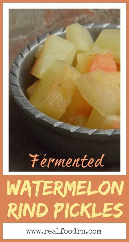 Fermented Watermelon Rind Pickles. Now there will be no waste after summertime picnics! You can even use up the watermelon rinds to make pickles! I have put together two different recipes: one is a basic pickle recipe, and the other has some spice to it!  realfoodrn.com #watermelon #pickles