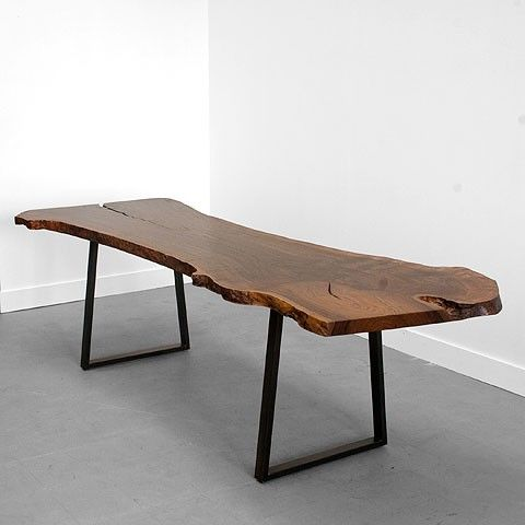 Raw edge is in. Get a massive wooden slab table for 8. I like the pairing with simple, industrial base. Add funky chairs.