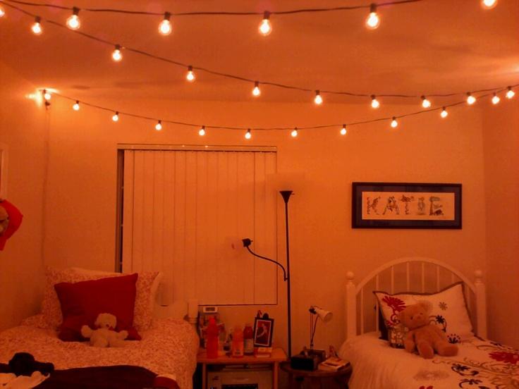 Buy Big Bulb Lights And String Them Diagonally Across Your