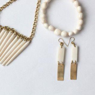 white bone and brass jewelry