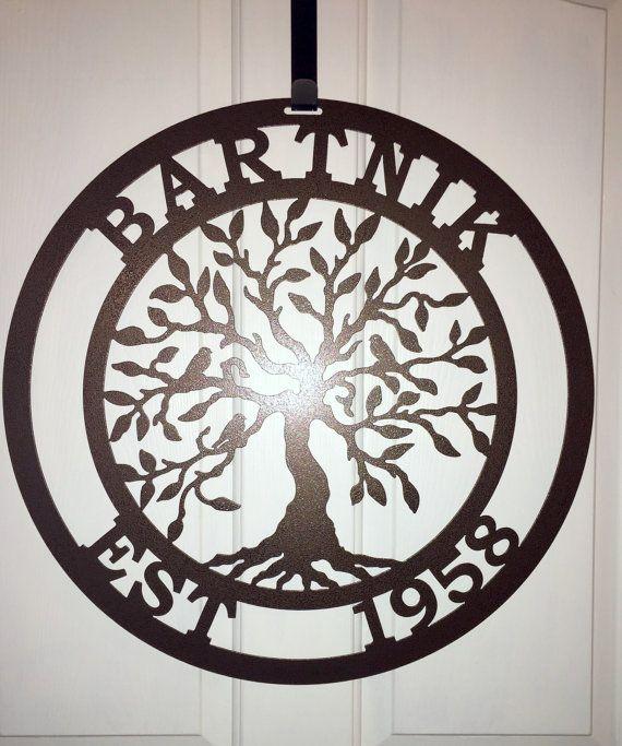 Established Tree of life, Family Last Name Monogram Sign, Monogram Wreath, Custom Family sign, Front Door Wreath, Wedding gift, Anniversary