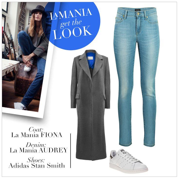 LA MANIA'S SKINNY AUDREY JEANS AND GRAY FIONA COAT