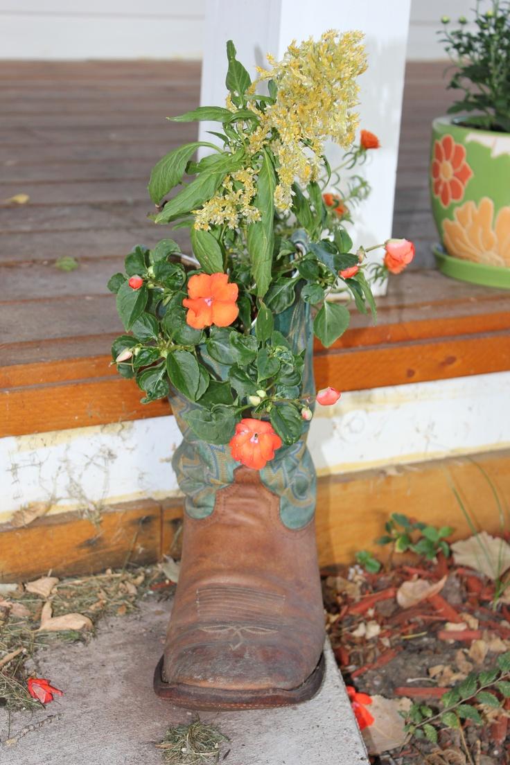Cowboy boot planter i have plenty of