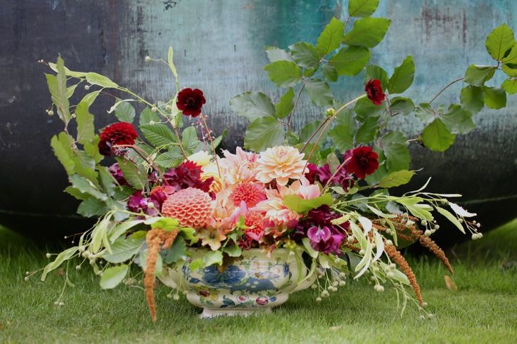 A beautiful old victorian soup tureen filled with apricot dahlias and a variety of graceful foliage and fillers. amaranthus Hot Biscuits, chocolate cosmos, sweet peas, heuchera, lime & beech foliage and a selection of dahlias