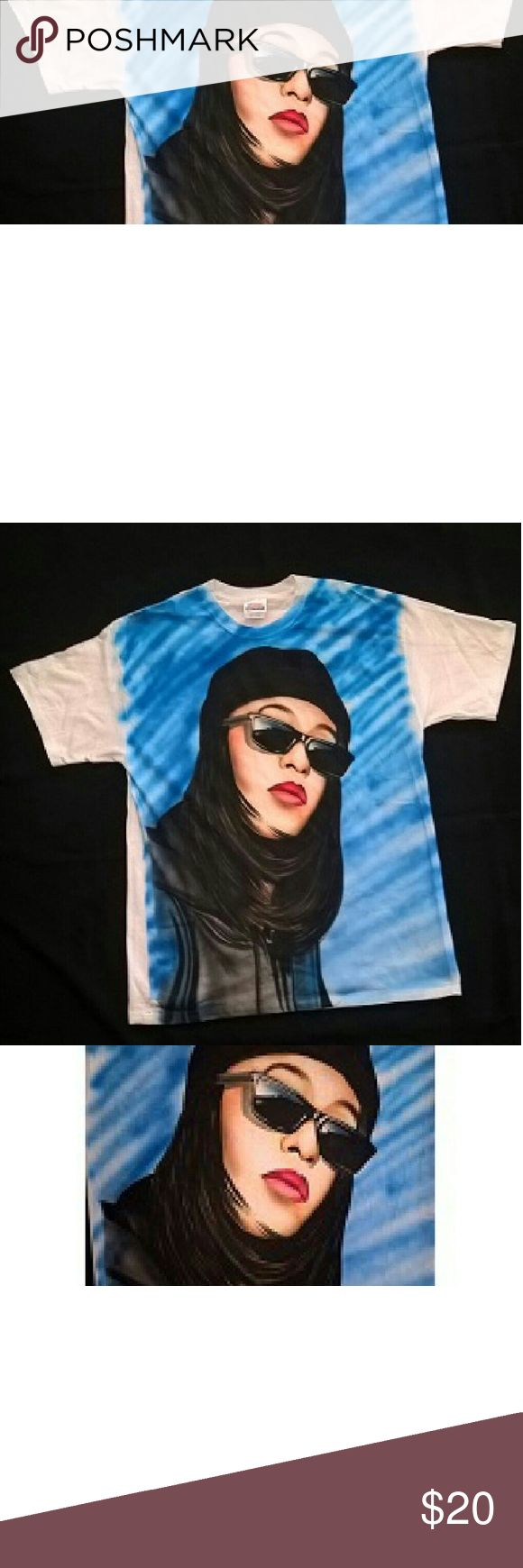 Aaliyah airbrushed tshirt This is an airbrush tshirt of the late singer Aaliyah hand painted on a white tshirt, This was a shirt I painted for display and has never been worn,  the tshirt is a regular men's size large tshirt Hanes Tops Tees - Short Sleeve