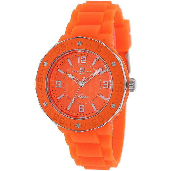 Oceanaut Women's Acqua Watch - Orange - Women's Watches ($98) ❤ liked on Polyvore featuring jewelry, watches, orange, orange dial watches, quartz movement watches, orange jewelry, orange watches and water resistant watches