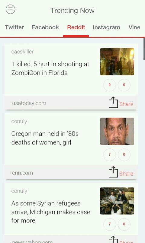 Top Trends This Hour on #Reddit (USA)  1 killed, 5 hurt in #shooting at #ZombiCon in #Florida.  #Oregon man held in '80s #deaths of #women, #girl  As some #Syrian #refugees arrive, #Michigan makes case for more  Get #TrendsToday App for More Updates