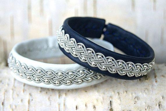 Sami bracelet | Lapland Swedish bracelet | Wrap leather cuff | White reindeer leather bracelet | Viking Saami armband | Beaded bracelet