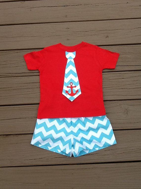 Boys chevron anchor tie shirt & shorts set. Aqua and white chevron tie applique and shorts. Custom childrens clothing By EverythingSorella