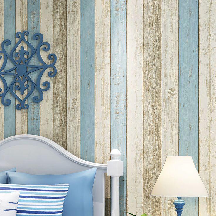 10M Wood Optic Timber Plank Wood Panel Stripe Wallpaper Wall Background Decor ...
