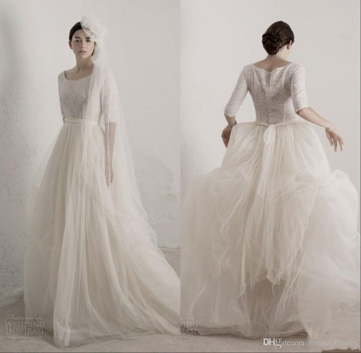 Discount Classical Vintage Cortant 2017 Wedding Dresses With Half Sleeves Scoop Neck Natural Waist Lace Top A Line Wedding Gowns Bridal Dresses Buy Wedding Dress Online Cheap Wedding Dresses For Sale From Formaldresses, $158.8| Dhgate.Com