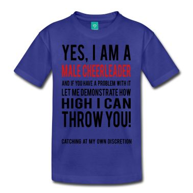 This Male Cheerleader Kids Shirts T-Shirt is printed on a T-Shirt and designed by GeekyGraphicGirl. Available in many sizes and colours. Buy your own T-Shirt with a Male Cheerleader Kids Shirts design at Spreadshirt, your custom t-shirt printing platform!