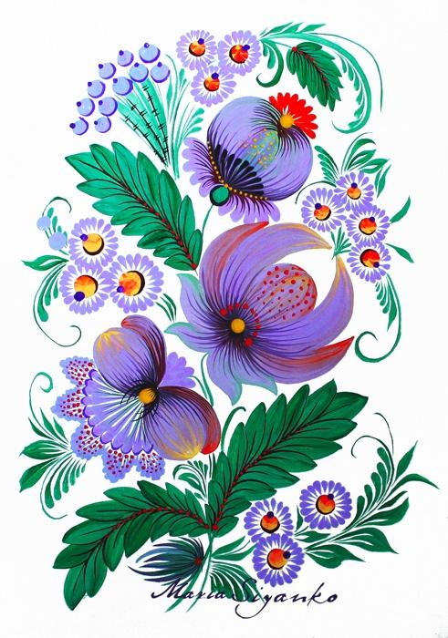 Petrykivka Ukrainian Folk art modern #Slavonik#Dekor#EFolk   ornament, decor, garniture, tracery, pattern, design, tracery, weave,