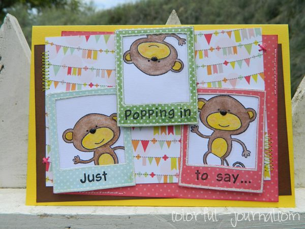 Watch out there are monkeys popping out... Happy Birthday card.