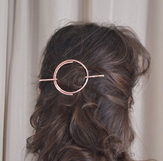New Year Sale. Two weeks only!     The circle hair slide is hammered, textures and formed by hand. Copper hair piece is made of 2 mm solid copper