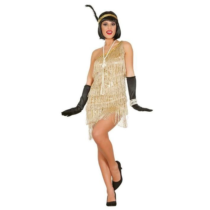 Disfraz De Charlestón Años 20 Color Oro Para Mujer Gold Flapper Dress 1920s Fancy Dress Gatsby Party Dress
