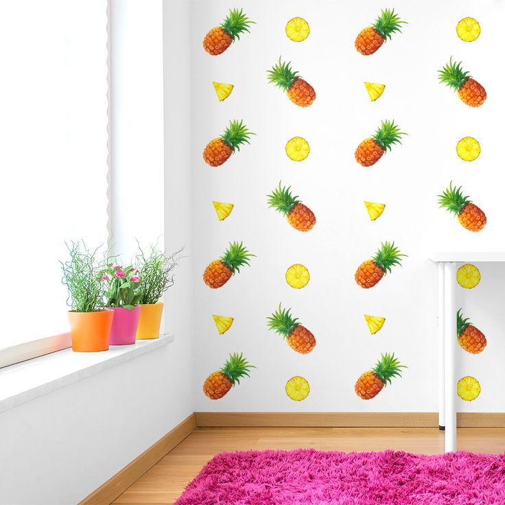 Pineapples – Feelin' it Decals #walldecals #wallart #walldecor #homedecor #kidsdecor #nurserydecor #bedroom #kidsplayroom #livingroom #playroom #summer #pineapples #yellow #green #decals #vinyl #removable