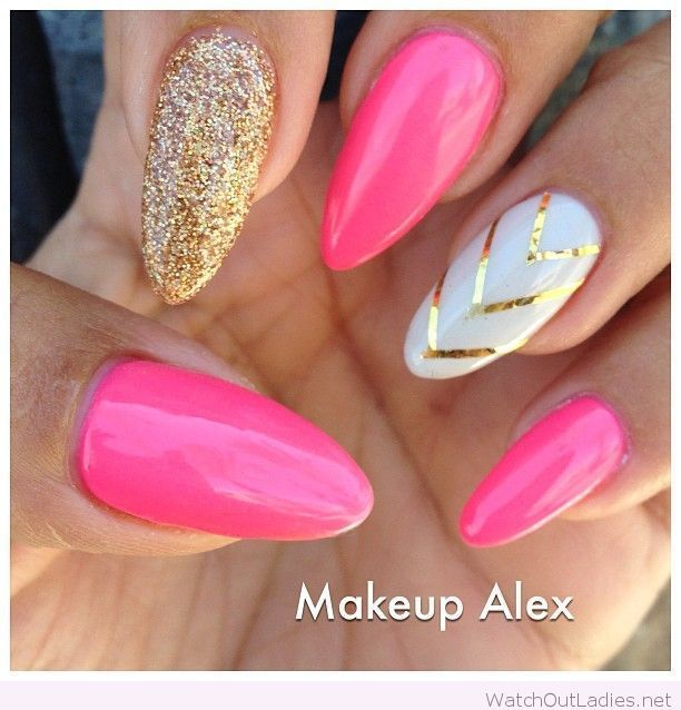 Hot pink, white and gold manicure