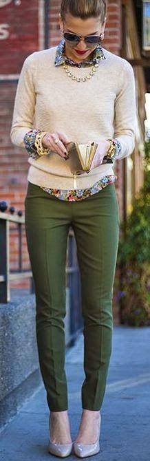 Street style khaki pants