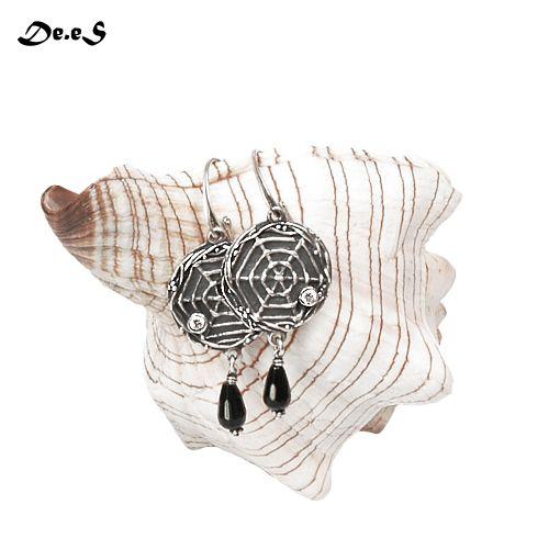 Arachne- srebrne kolczyki z onyksem / dobrawa sobieraj / Biżuteria / Kolczyki