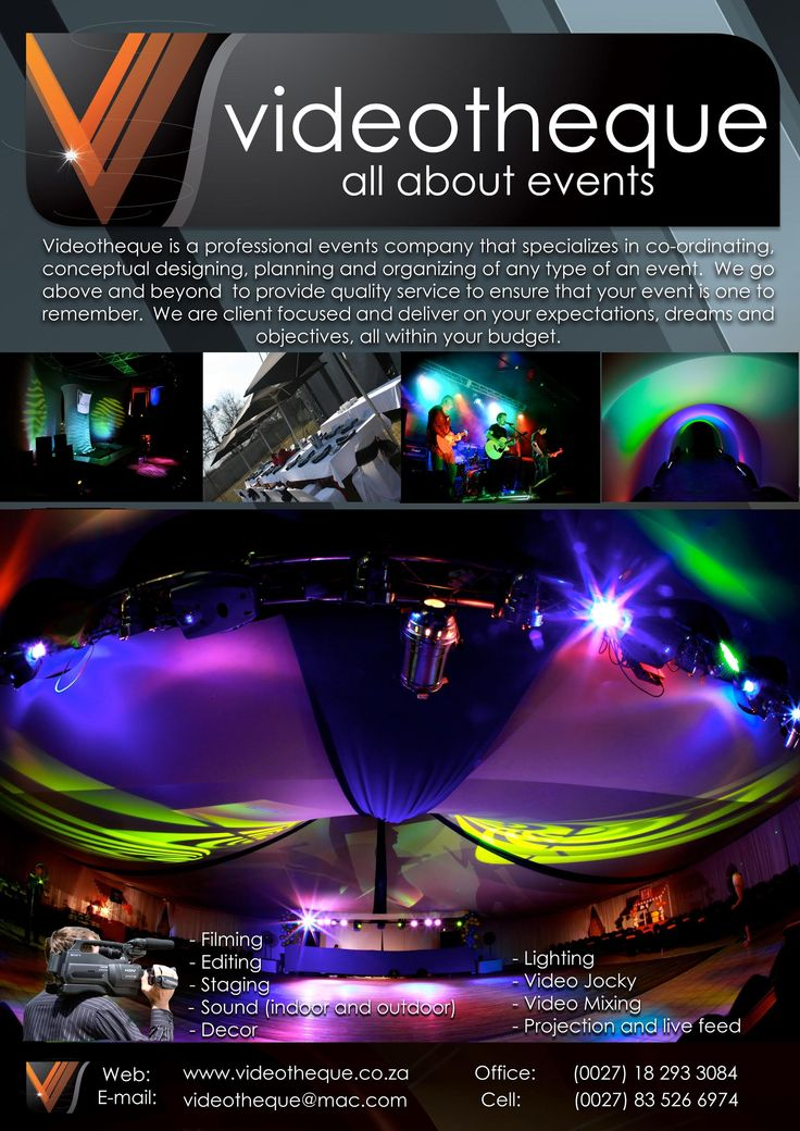 Videotheque is a professional events company that specializes in co-ordinating, conceptual designing, planning and organizing of any type of event. We go above and beyond to provide quality service to ensure that your event is one to remember. We are client focused and deliver on your expectations, dreams and objectives, all within your budget. http://www.videotheque.co.za/