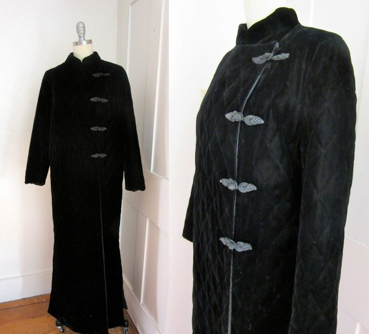 Black Velvet Long Quilted Coat - 1980s - Maxi Coat - Asian Style - Quilted Lining - Black Tie - Evening Coat by stateandmainvintage on Etsy