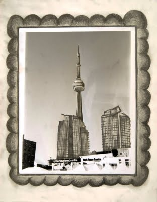 Harbourfront Centre - 2010, 11''x14'', Mixed Media (black and white silver print & pencil drawing)