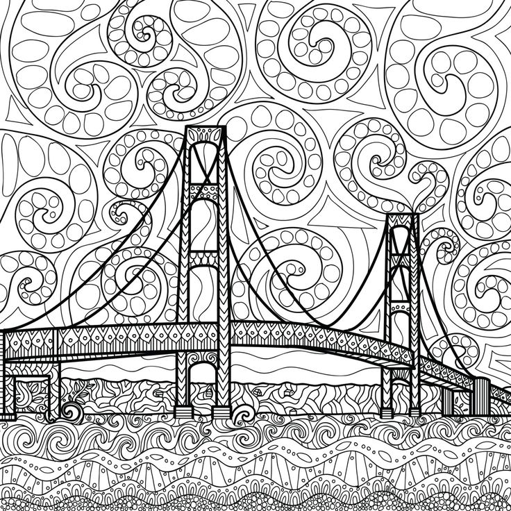 printable coloring page zentangle mackinac island coloring book