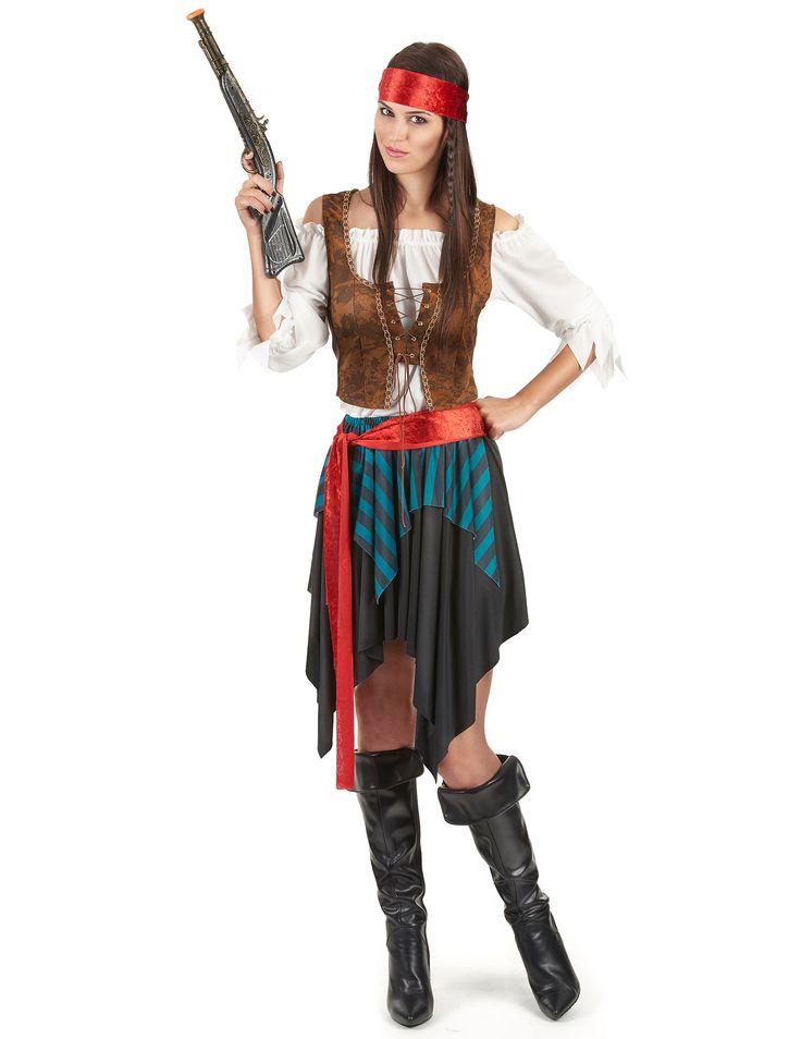 Déguisement pirate femme : Ce déguisement de pirate pour femme comporte une jupe, une ceinture, un bustier, un gilet et un bandeau.La jupe est habillée d'un tissu vert/bleu rayé noir pour créer...