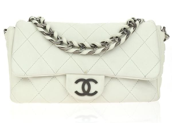 Chanel White Quilted Modern Chain Medium Flap Bag