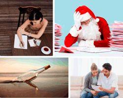 #Apensar Papa Noel pensando, mensaje en una botella, chica escribiendo... ¿qué será? (C----)