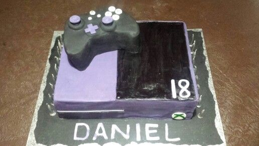 Xbox one cake  Purple ombre inside