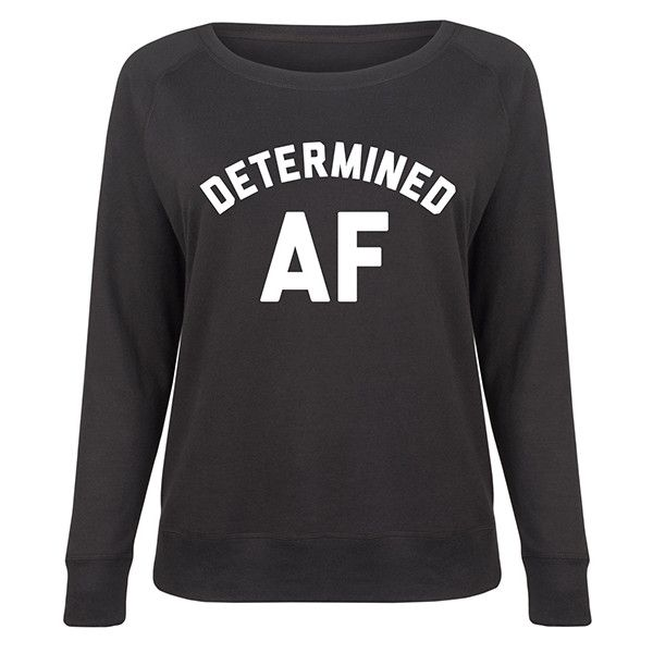 LC trendz Plus Black 'Determined AF' Slouchy Pullover ($25) ❤ liked on Polyvore featuring plus size women's fashion, plus size clothing, plus size tops, plus size, slouchy pullover, pullover top, sweater pullover and slouchy tops