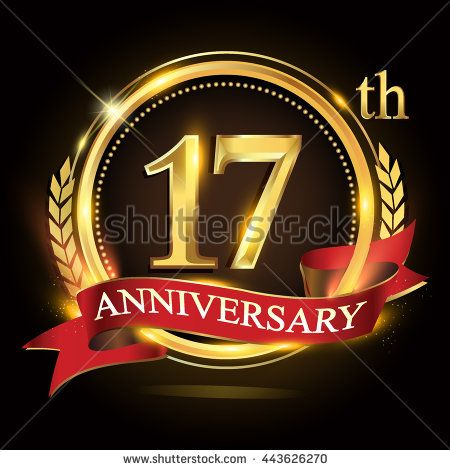 17th golden anniversary logo, 17 years anniversary celebration with ring and red ribbon, Golden anniversary laurel wreath design. - stock vector