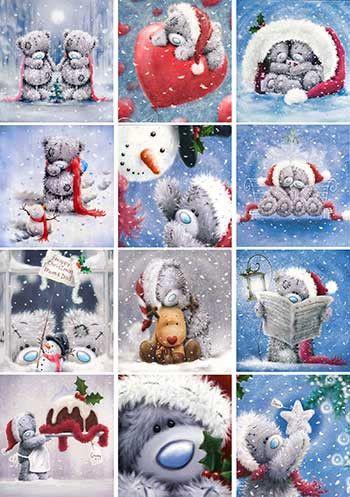 Декупажная карта А4 Зима. Новый год. Рождество. Мишки Тедди.