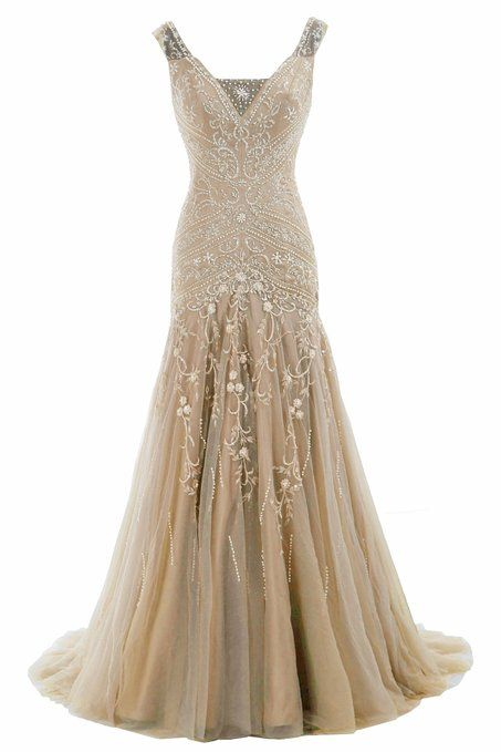COCOMELODY Trumpet V Neck Long Beaded Prom Evening Dress Bmmc0009 Champagne 00