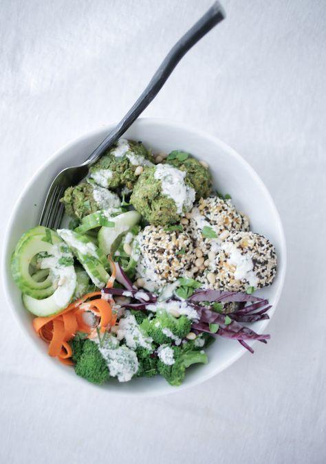 Baked Pea Falafel with Sesame Rice Balls, vegan, gluten-free | Nutrition Stripped