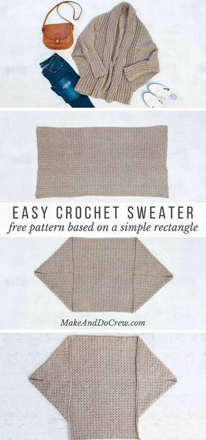 Learn how to make a figure-flattering cardigan from a simple rectangle in this free beginner crochet sweater pattern and tutorial. You won't believe how easy this is! via @makeanddocrew #crochet #diysweater #easycrochetpattern #easycrochetsweater