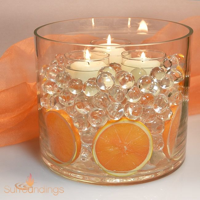 Fruit Slices In Water Pearls Floating Candle Centerpiece Candle