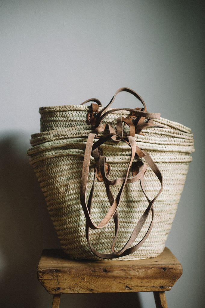 The Classic French market basket - a great carryall for trips to the market or toting lots of baguettes and cheese on one's way to a picnic. This simple French market tote is handwoven from date palm
