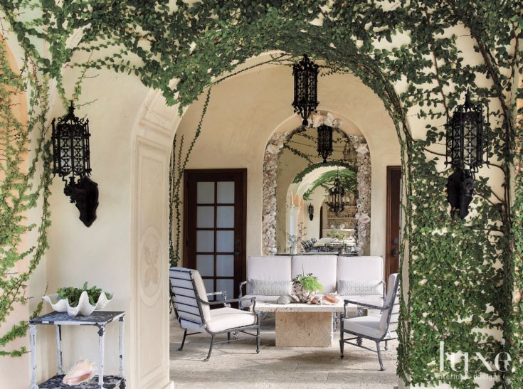 Mediterranean Neutral Pool House with Vines