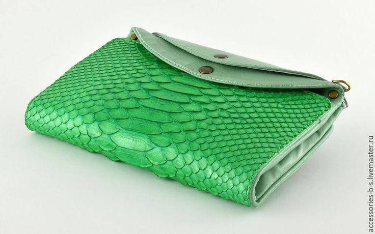 """Купить Кошелек кожаный """"Tropical python"""" - зеленый, кошелек из кожи, кошелек женский, Кошелек в подарок"""