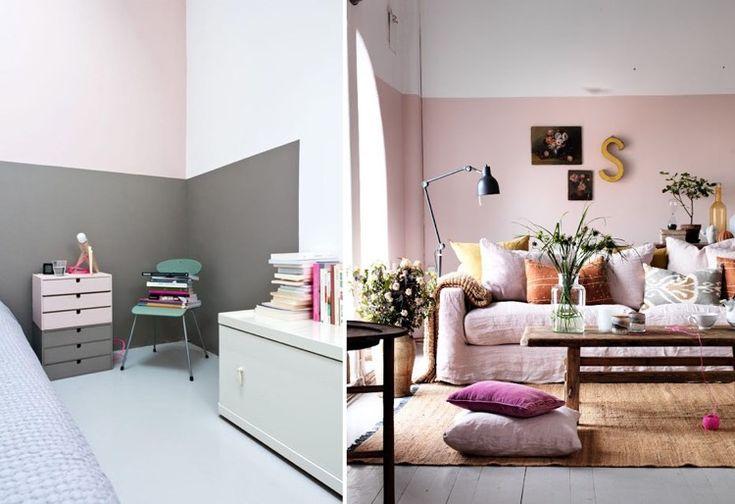 Id e d co peinture int rieur maison les murs bicolores respirent l quilibre rose pink - Idee interieur maison ...