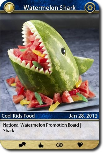 National Watermelon Promotion Board | Shark  source: http://www.watermelon.org/Carvings/Shark-30.aspx