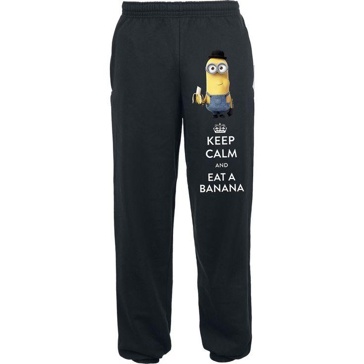 """Pantaloni della tuta neri """"Keep Calm And Eat A Banana"""" dei #Minions con stampa sulla gamba sinistra, 1 tasca sul retro e 2 tasche laterali."""